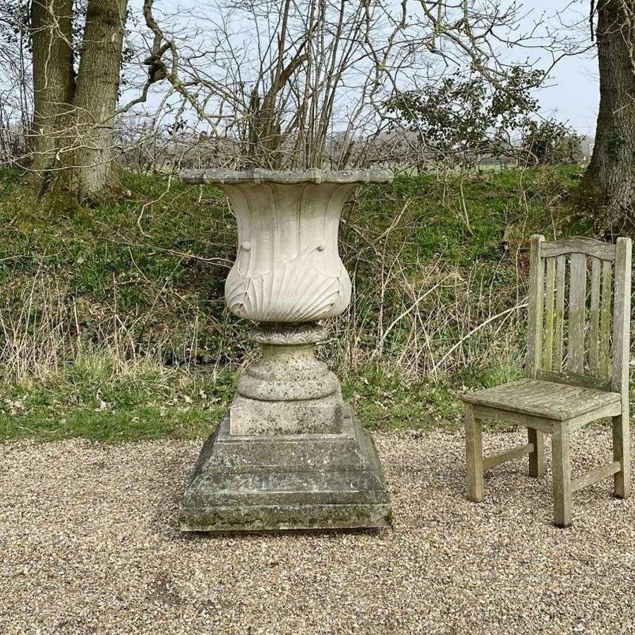 Large Galle Vase and Plinth