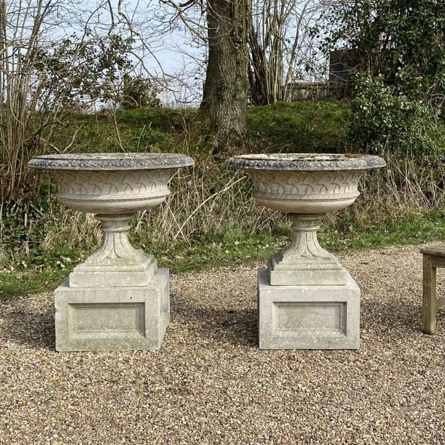 Pair of Large Eastwell Urns with Plinths