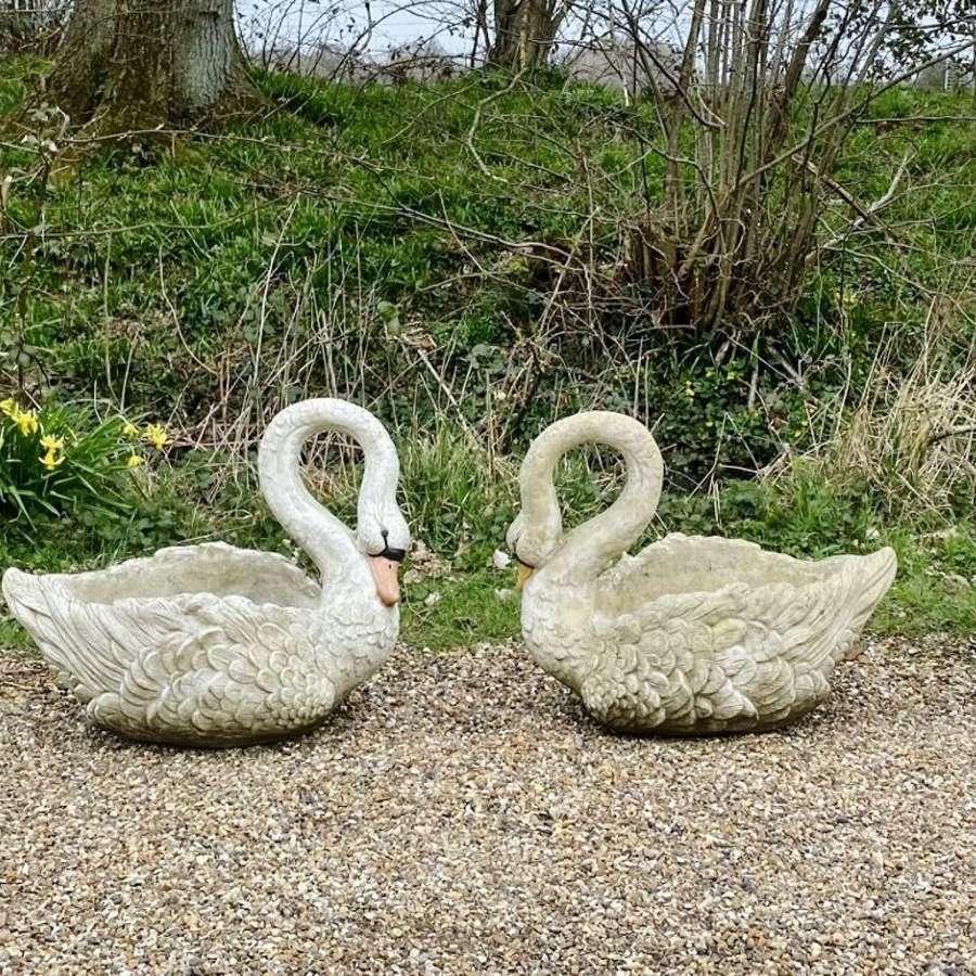 Pair of Swan Planters