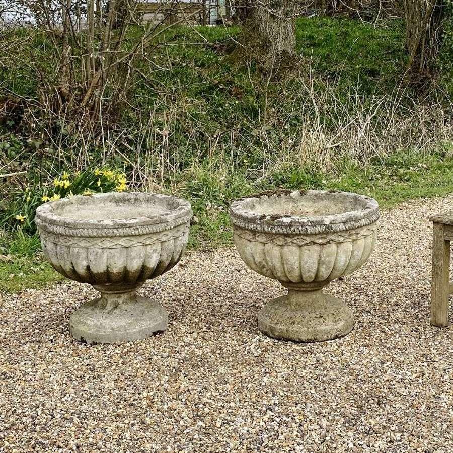 Pair of Patinated Bowl Urns