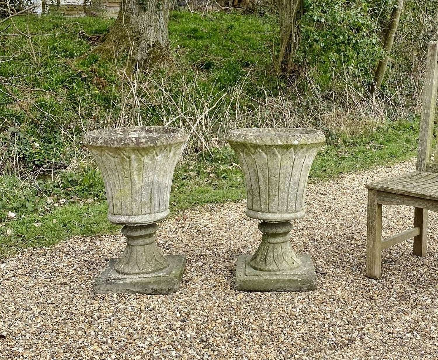 Pair of Fluted Urns