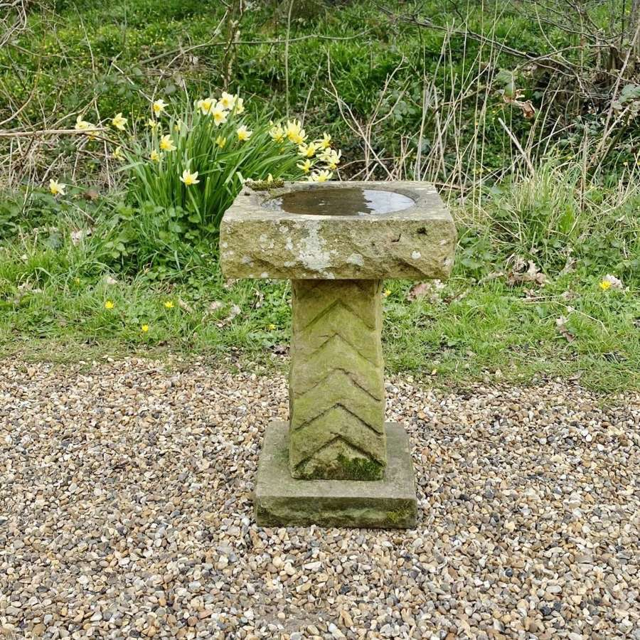Small Carved Stone Bird Bath