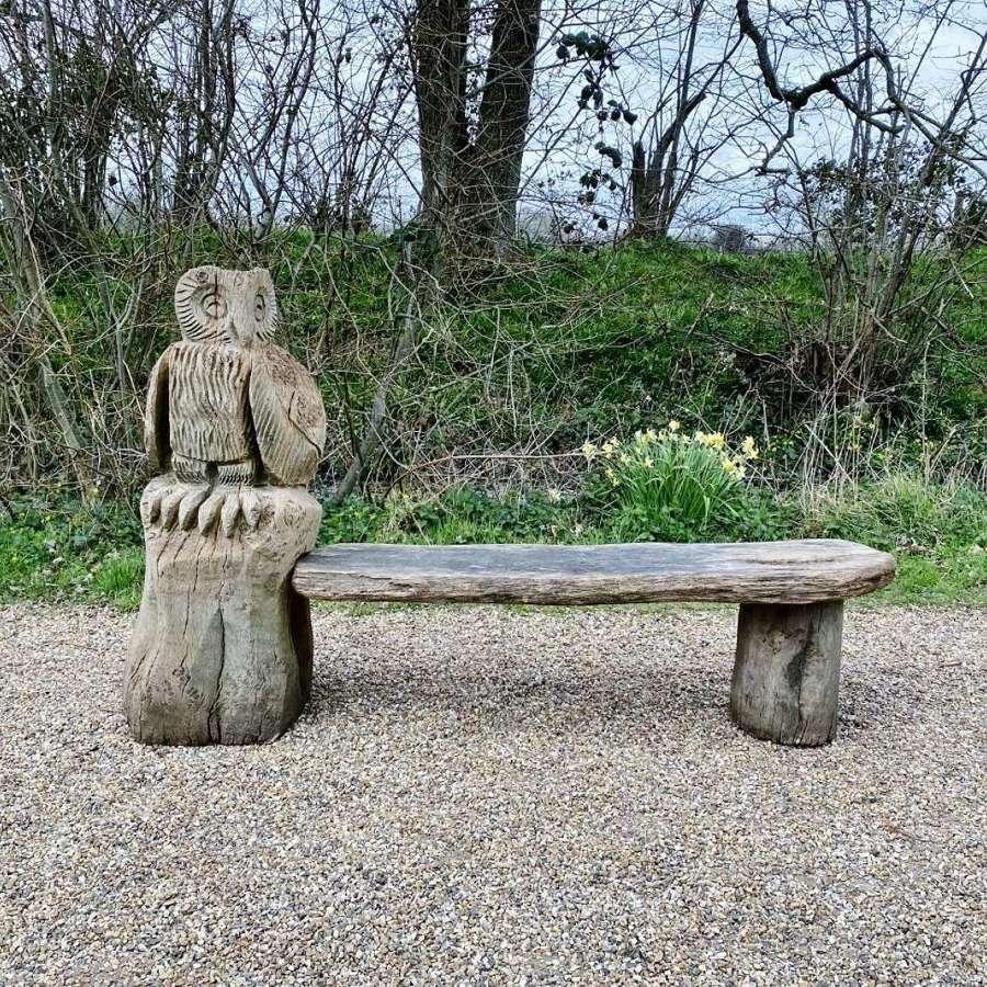 Large Owl Garden Bench