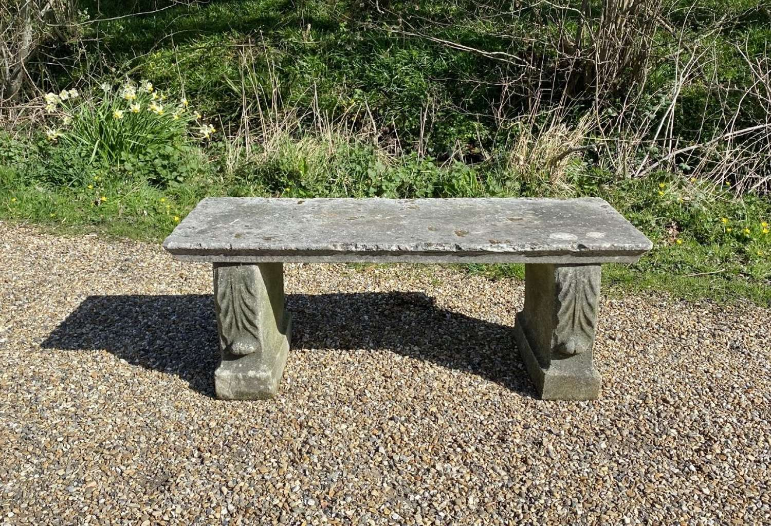 Simple Stone Bench with Leaf Decoration