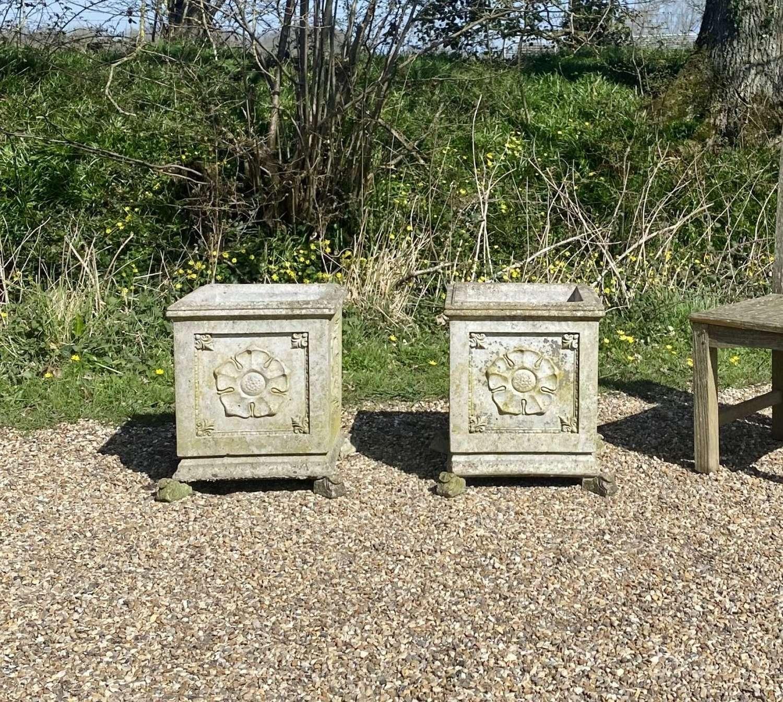Pair of Tudor Rose Planters