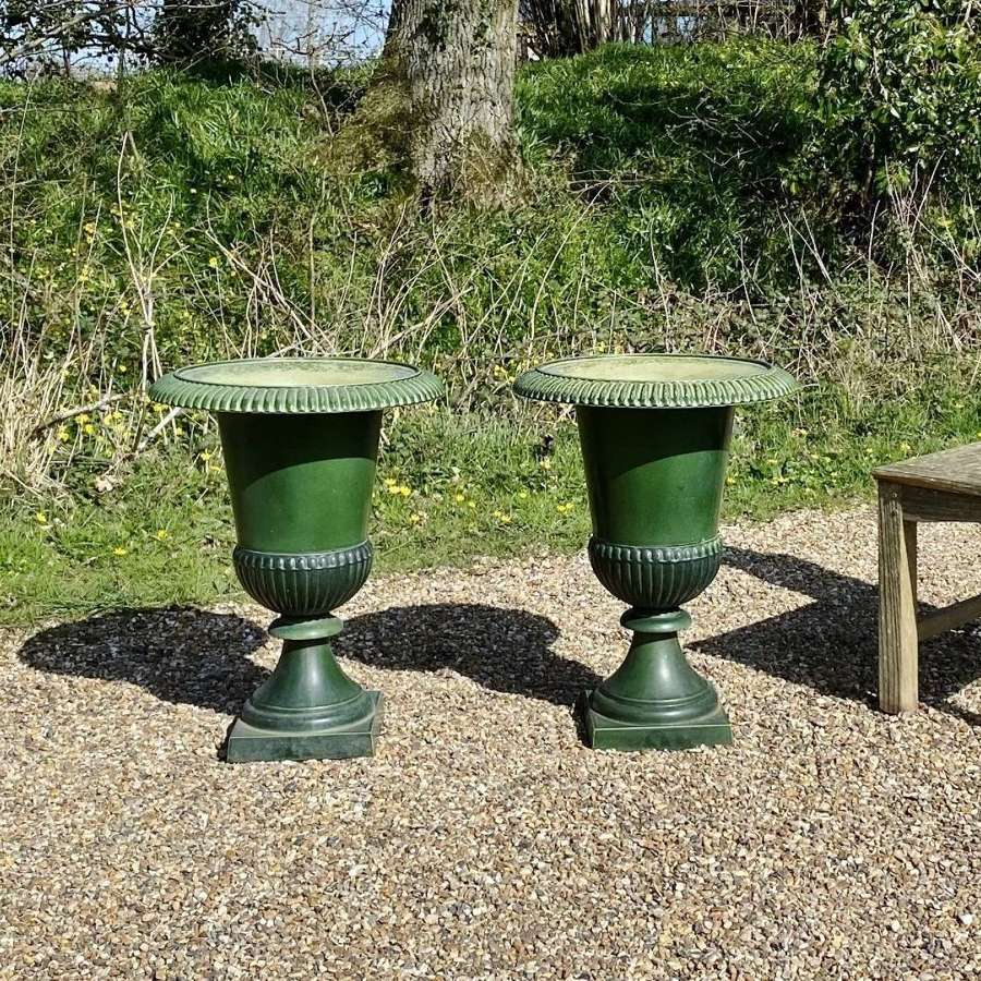 Pair of French Green Enamelled Iron Urns