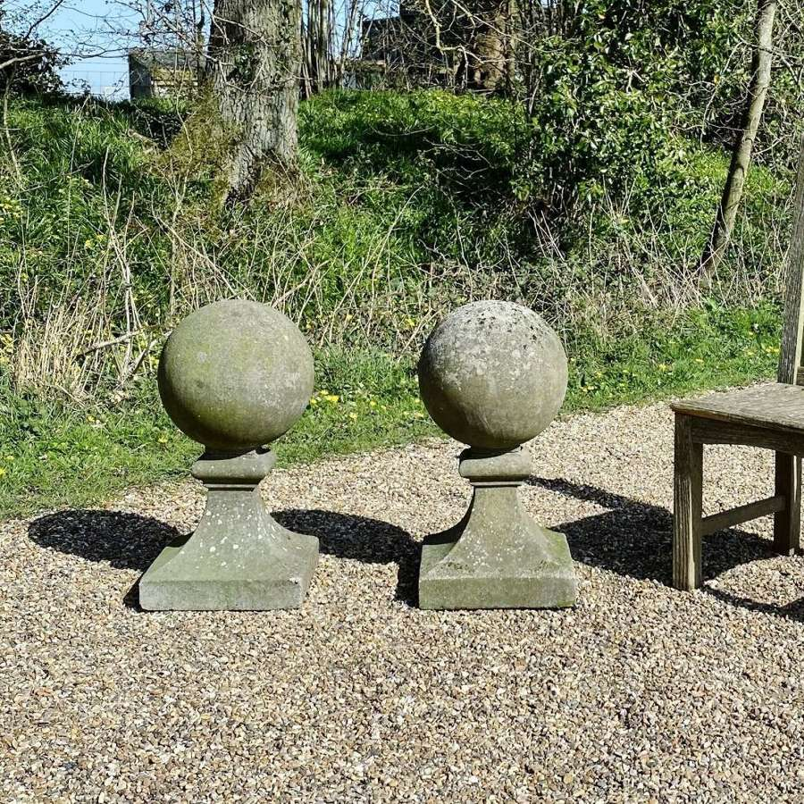 Pair of Weathered Ball Finials