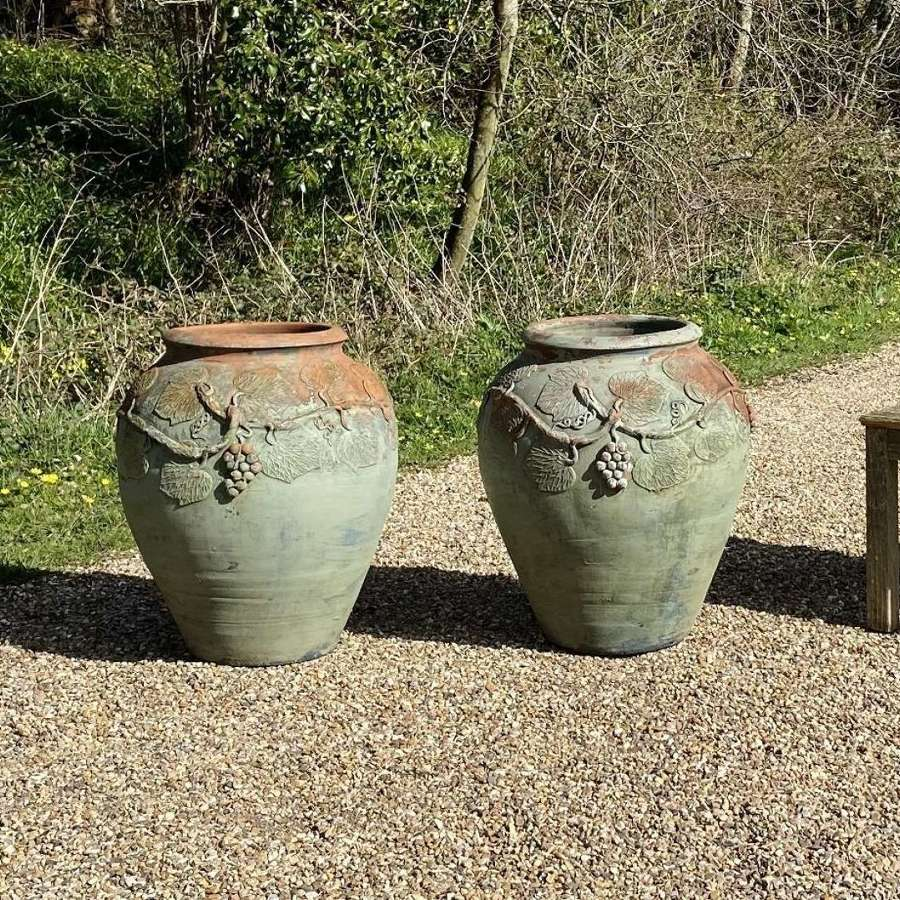 Pair of Terracotta Amphoras with Green Paint