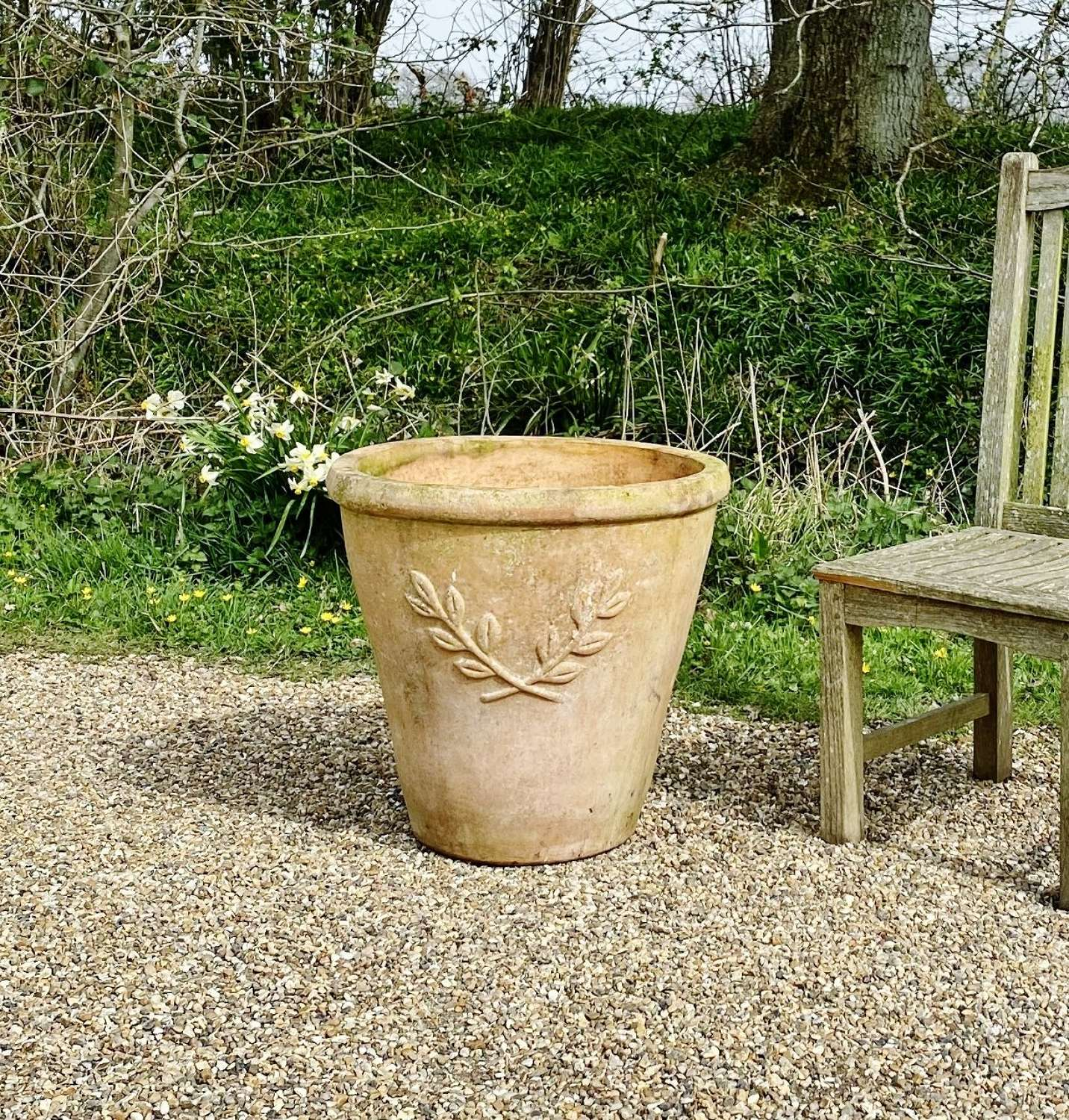 Terracotta Planter with Sprig Motif