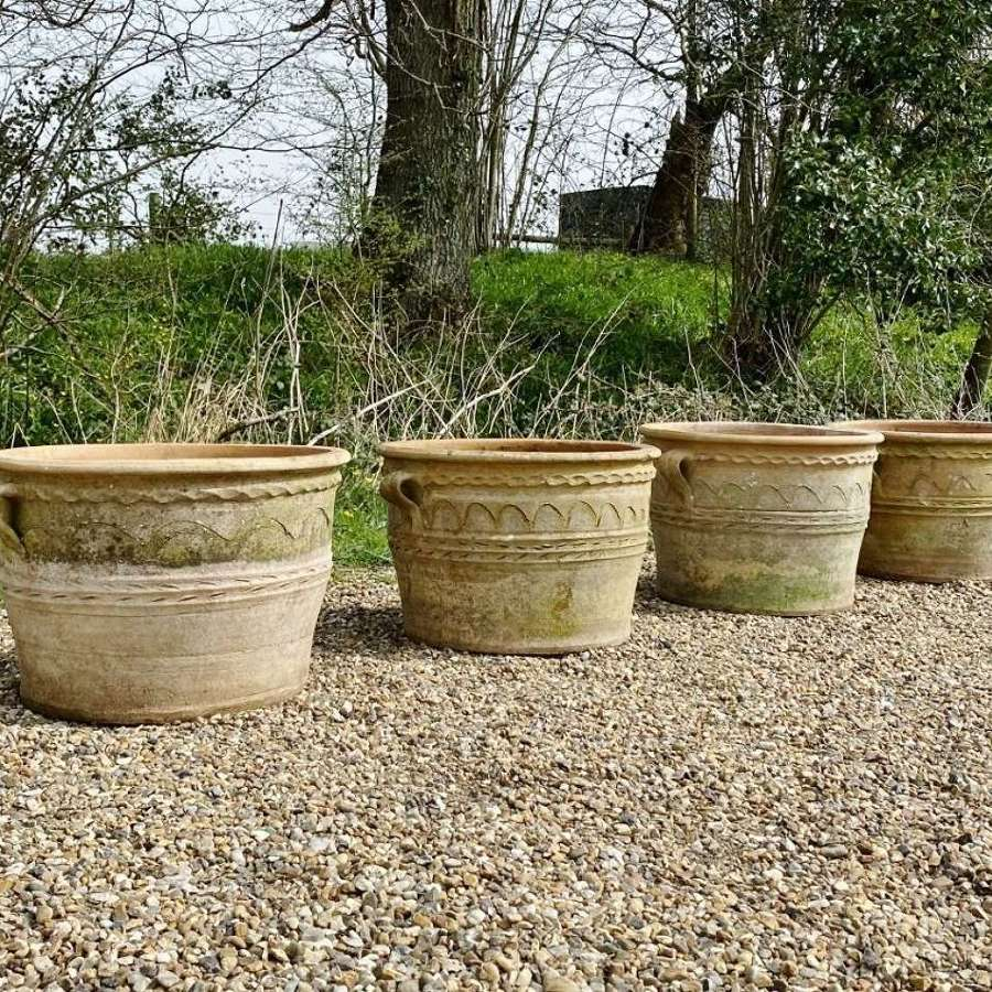 Set of 4 Terracotta Planters with Handles
