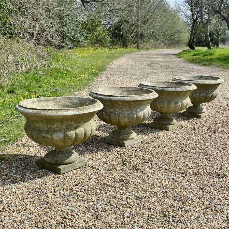 Set of 4 Patinated Urns