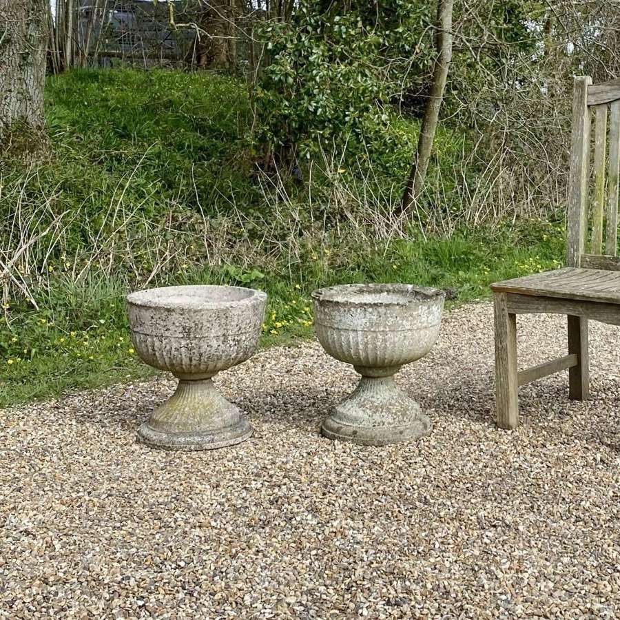 Pair of Patinated Bowl Urns