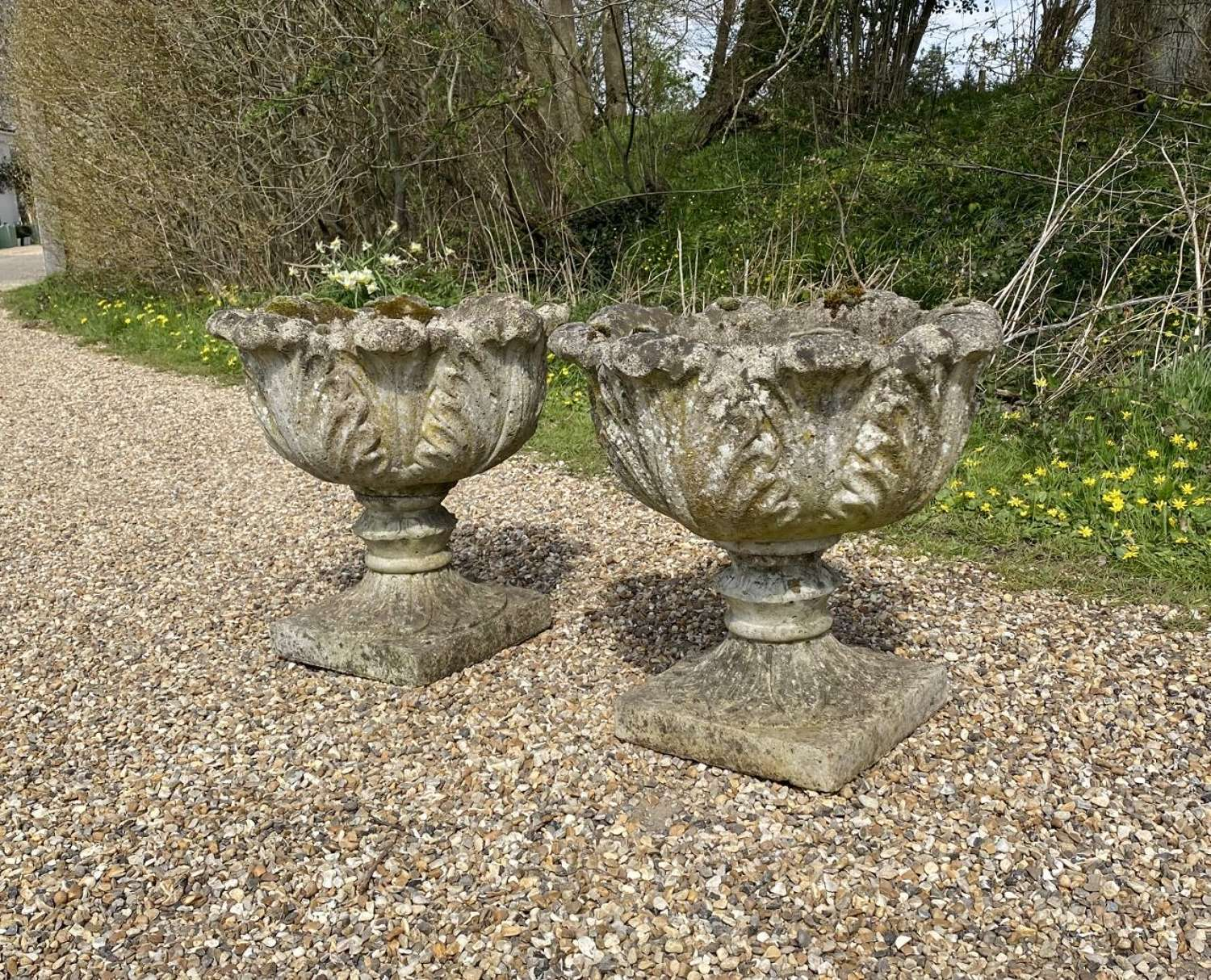 Pair of Patinated Acanthus Urns