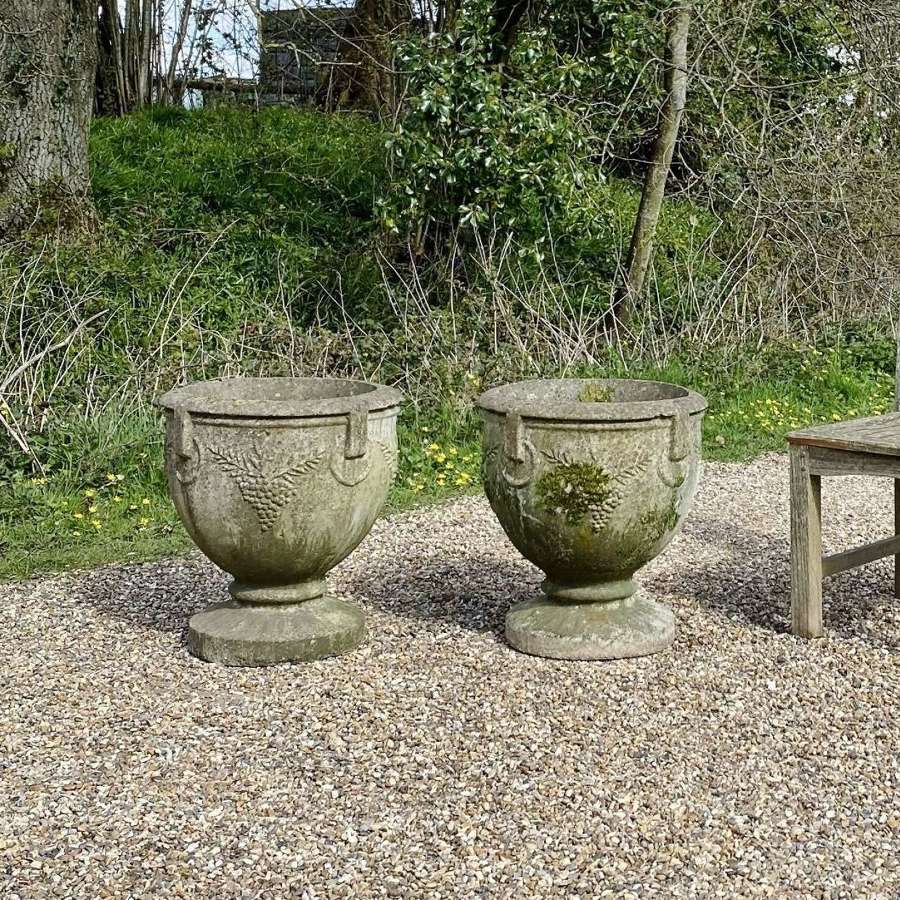 Pair of Patinated Grape Urns