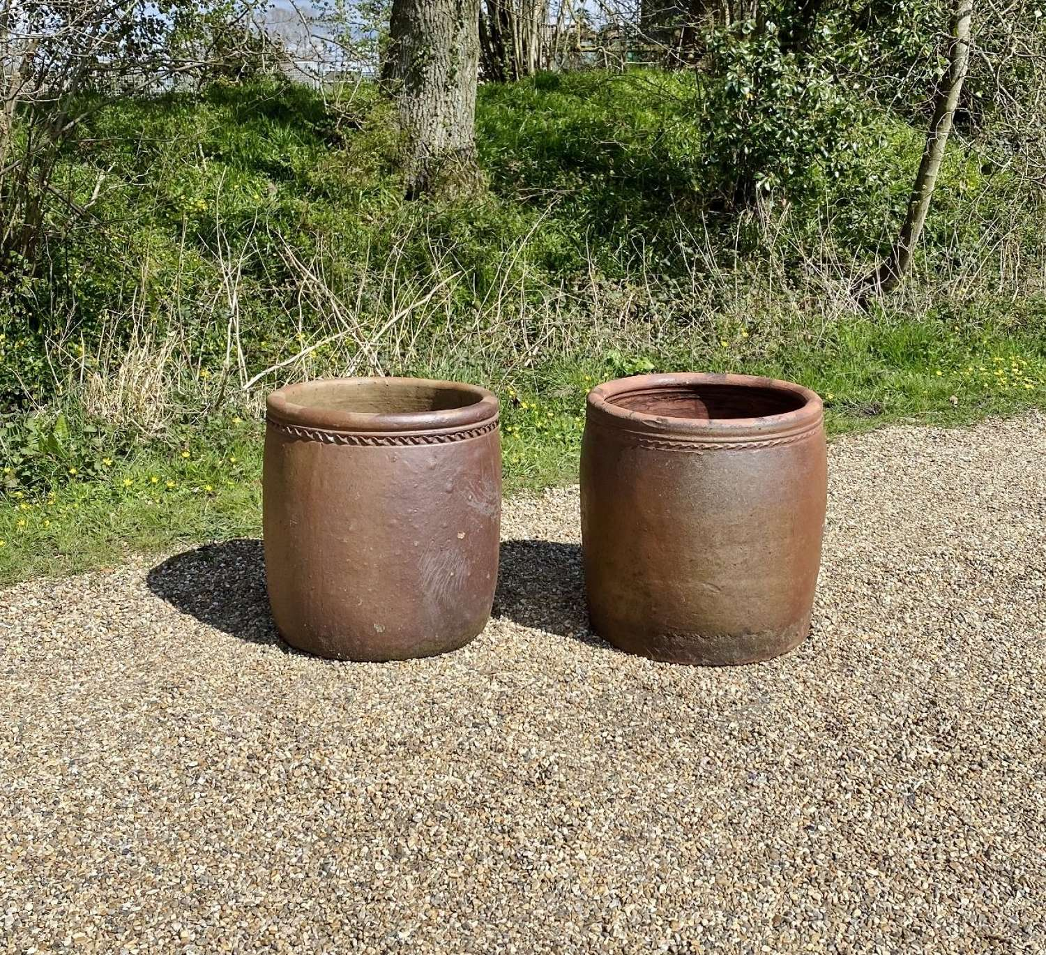 Pair of Large Earthenware Planters with Decoration