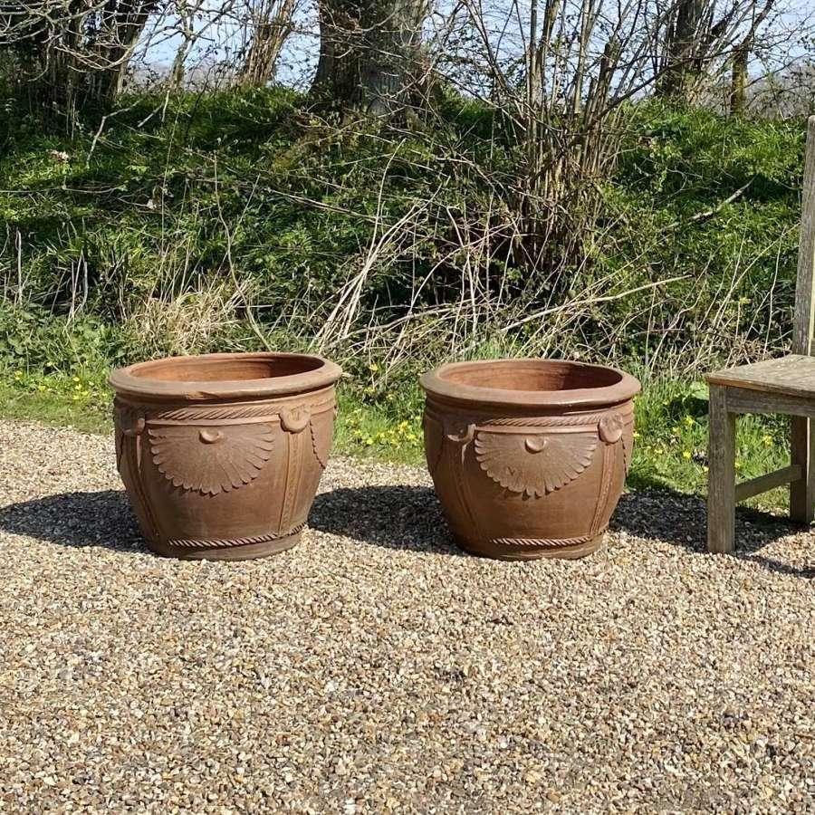 Pair of Decorative Earthenware Planters