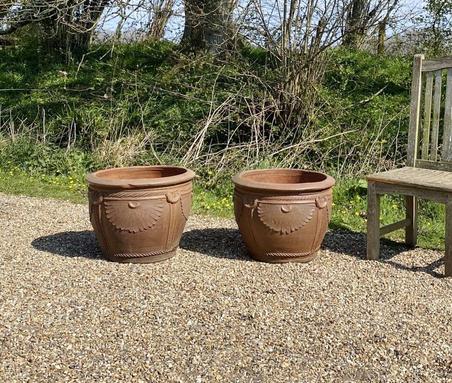 Pair of Decorative Earthenware Planters