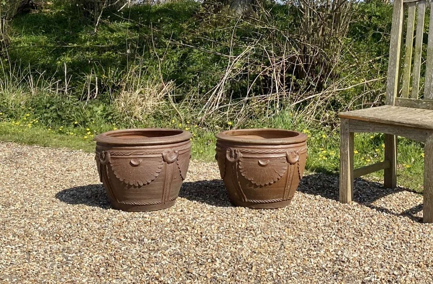 Pair of Small Decorative Earthenware Planters