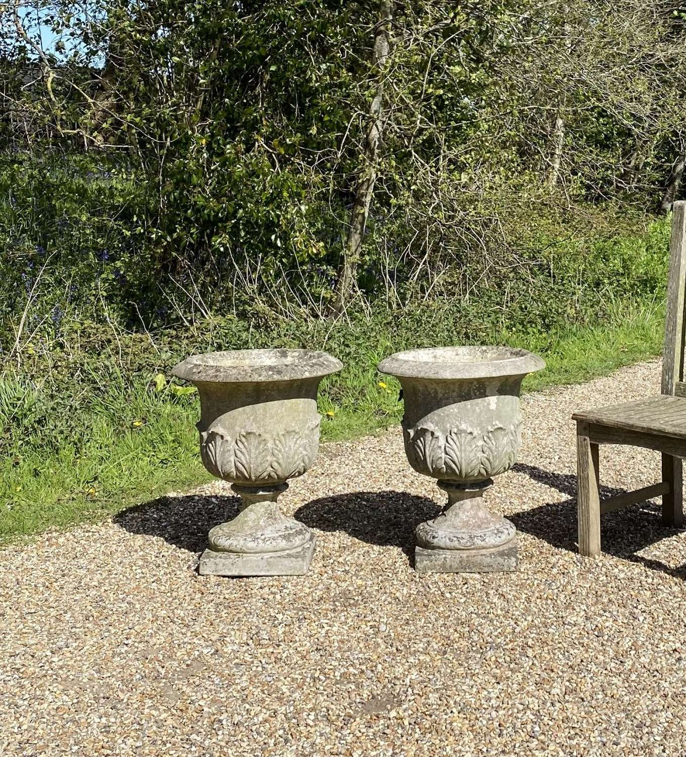 Pair of Patinated Leaf Urns