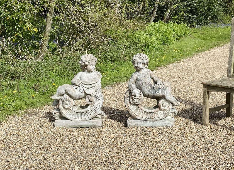 Pair of Putti Figures