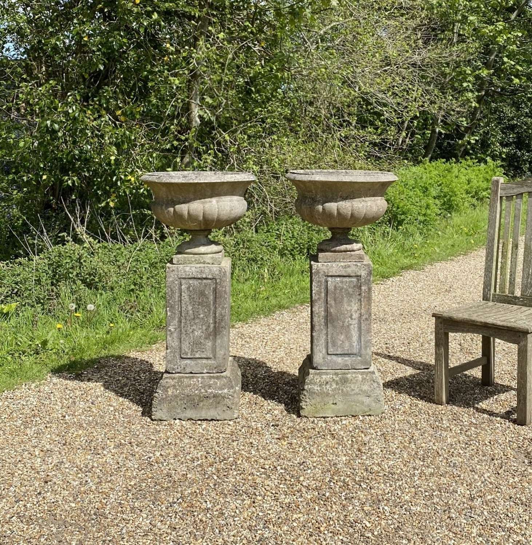 Pair of Mid-Century Urns with Pedestals