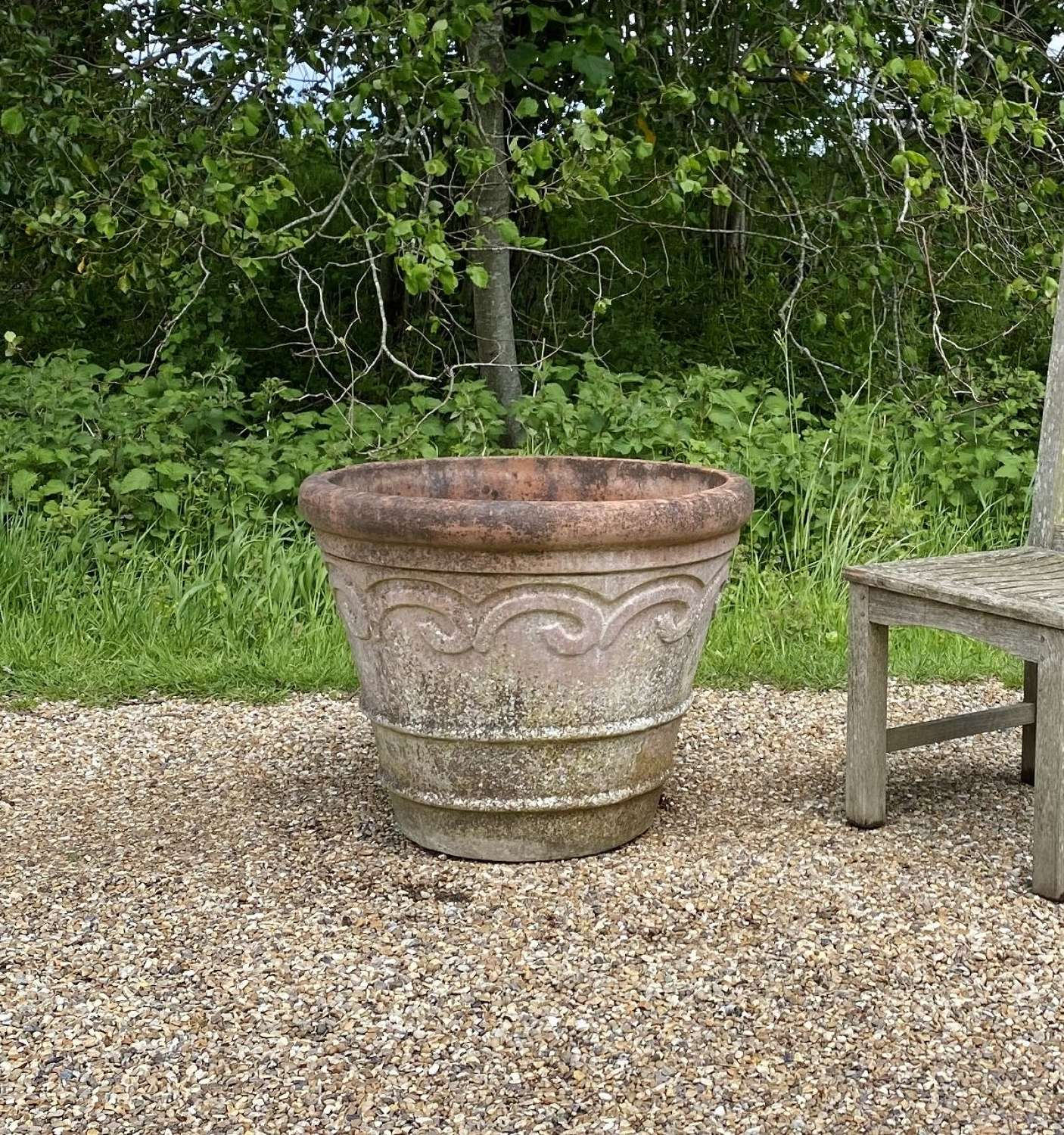 Large Patinated Terracotta Planter