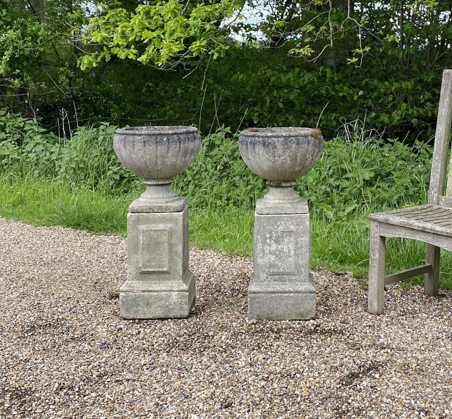 Pair of Small Urns with Pedestals