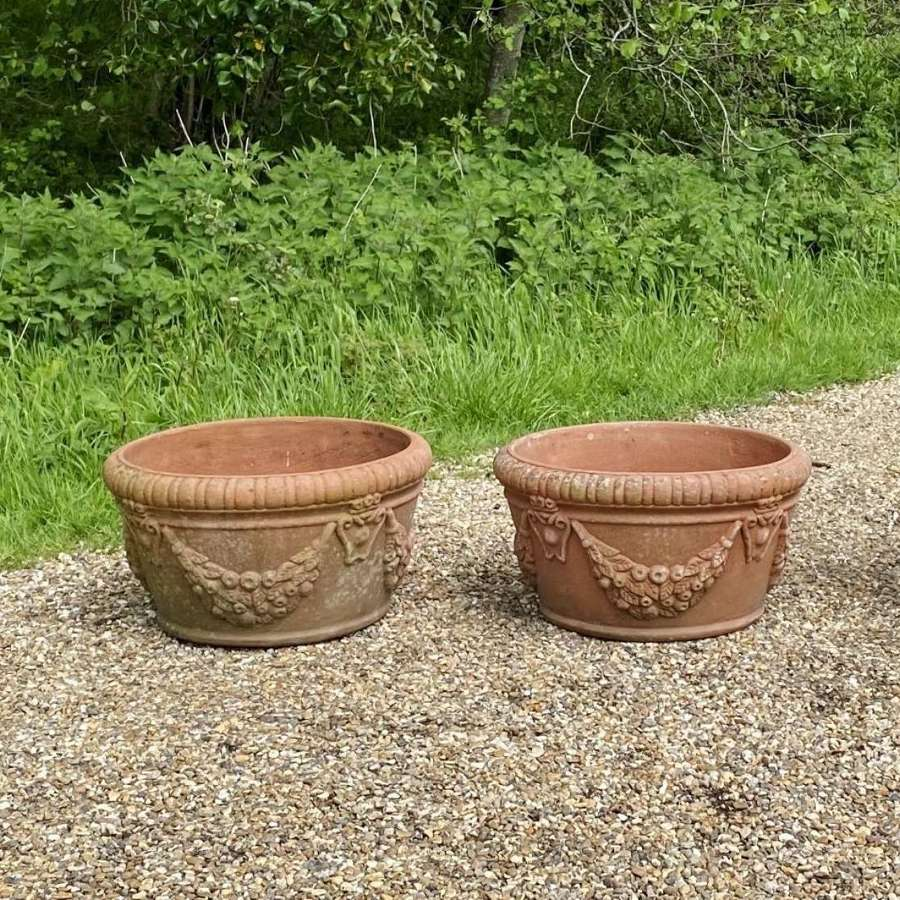 Pair of Low Terracotta Planters
