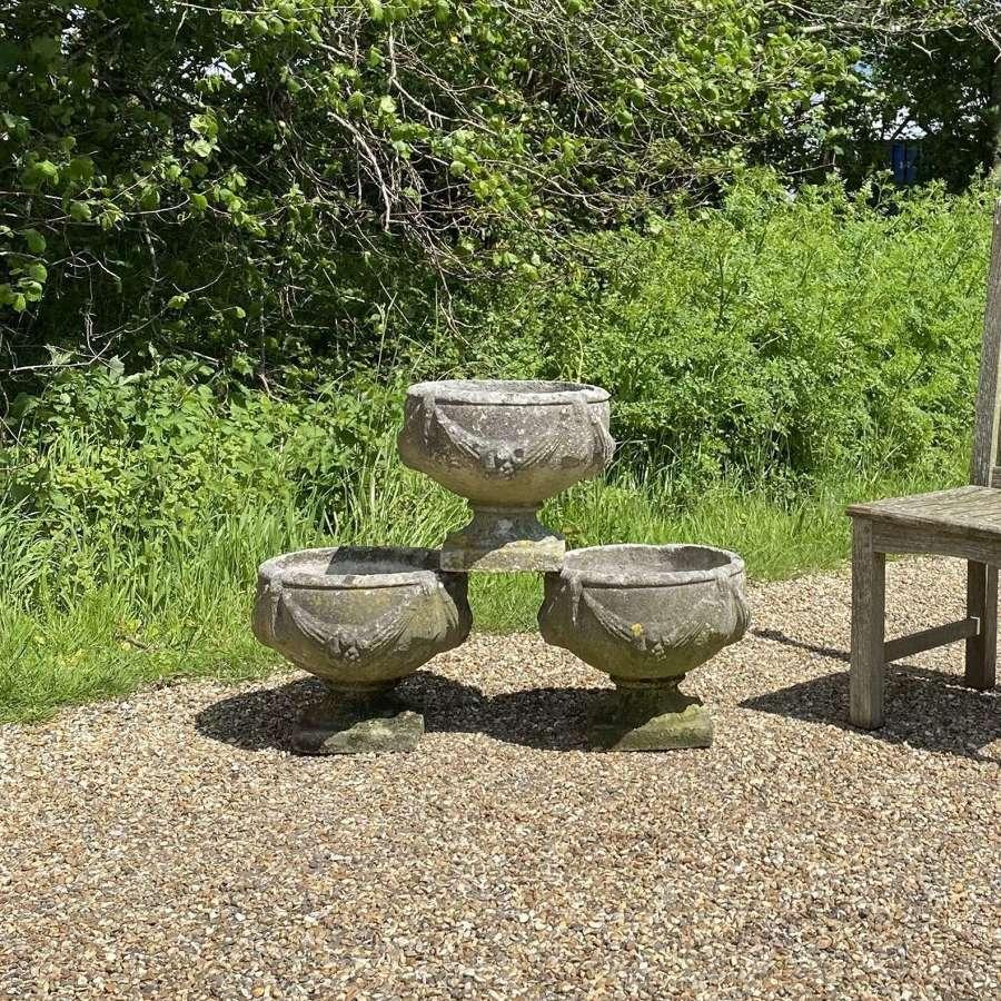 Patinated Goblet Urns