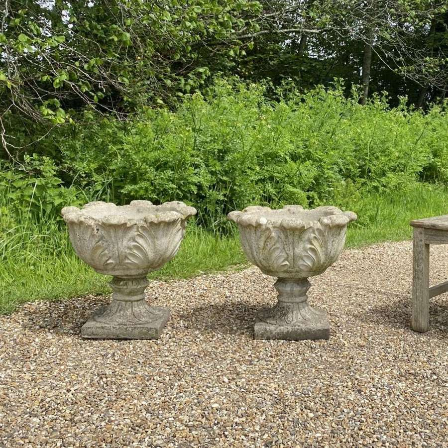 Pair of Weathered Acanthus Urns