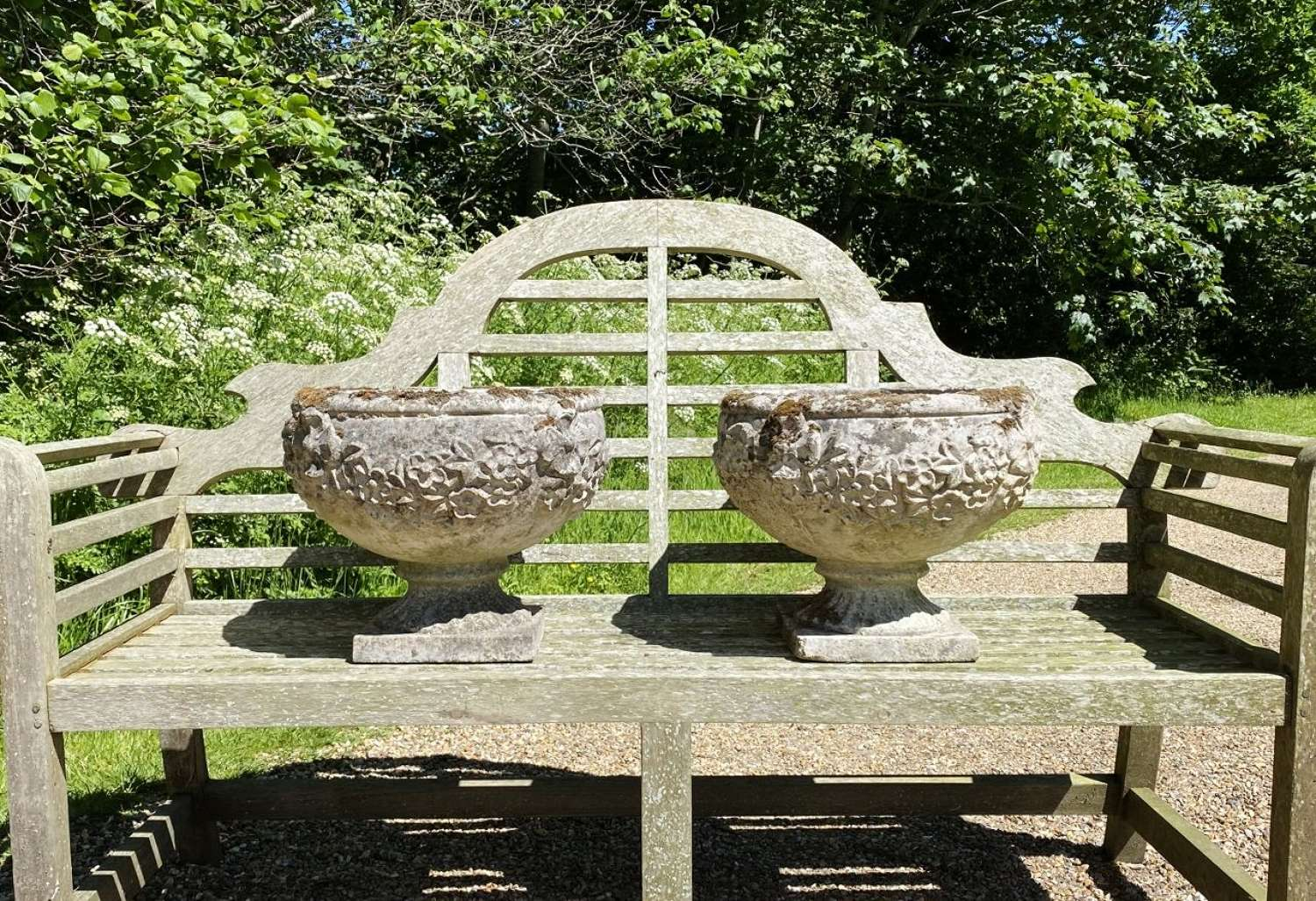Pair of Patinated Goblet Urns