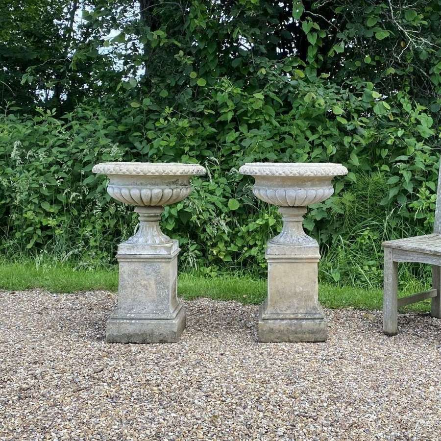 Pair of Small Tazza Urns with Pedestals