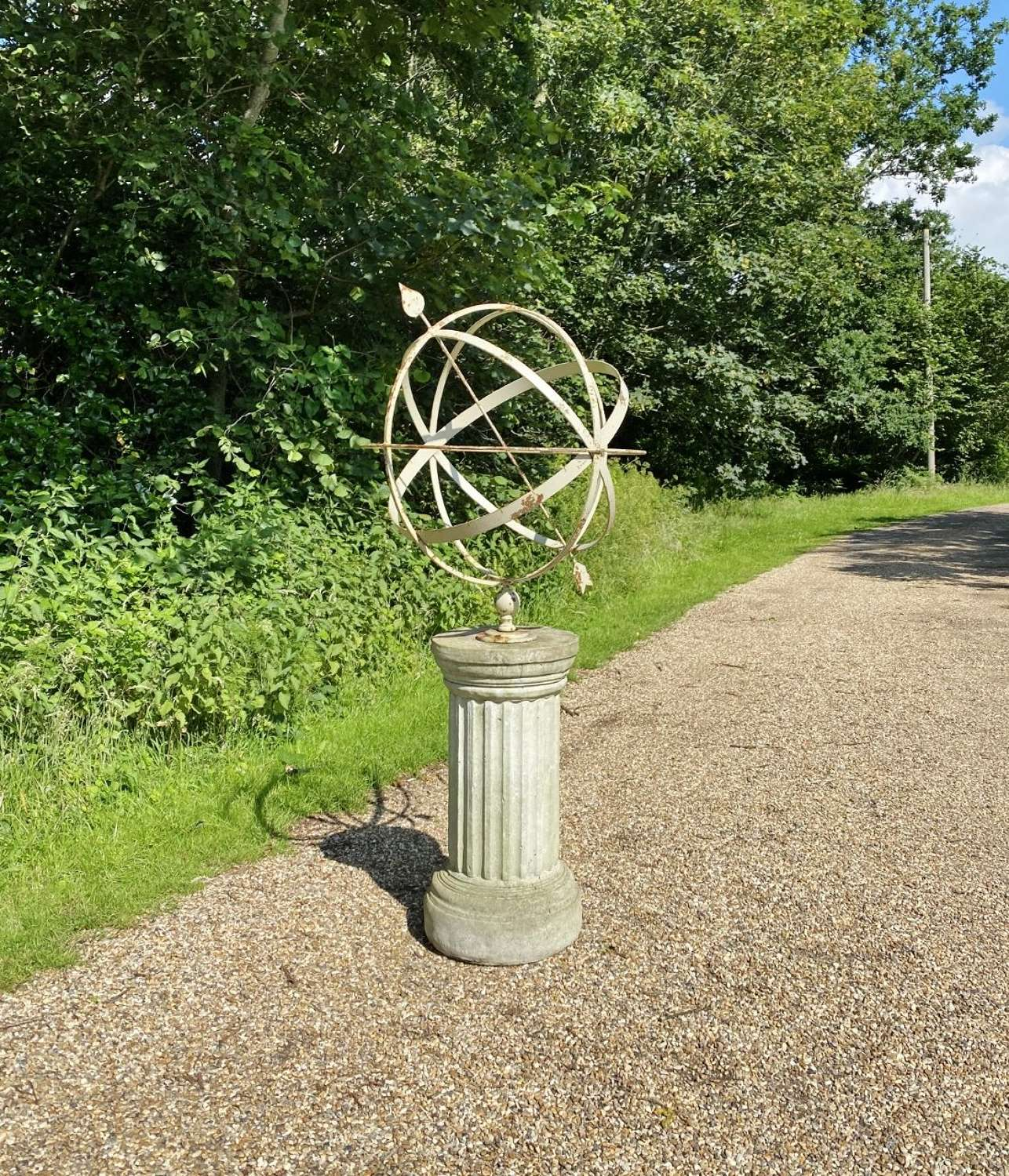 Very Large Decorative Armillary with Fluted Column