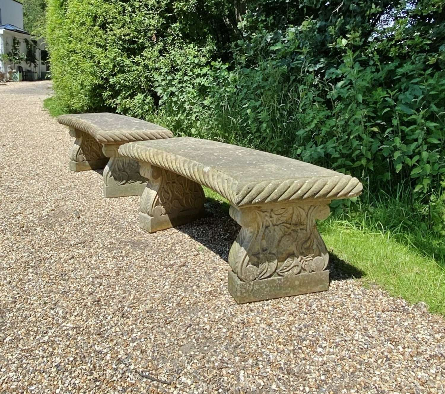 Large Carved Stone Benches