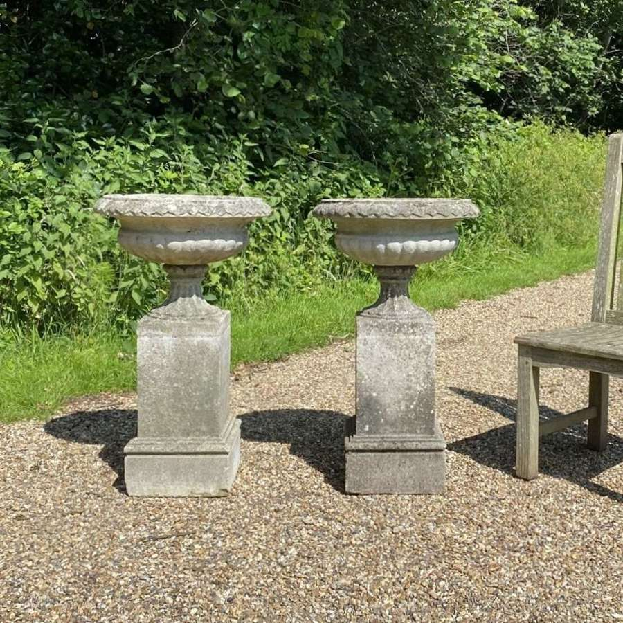 Pair of Small Classic Urns with Pedestals