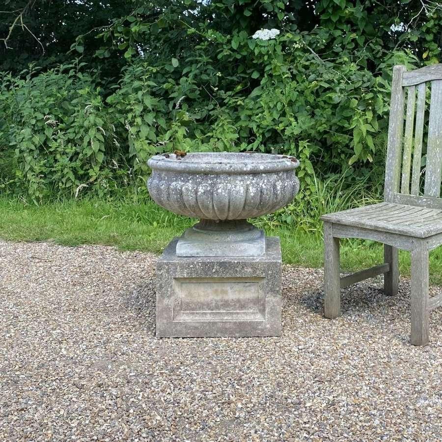 Patinated Bowl Urn and Plinth