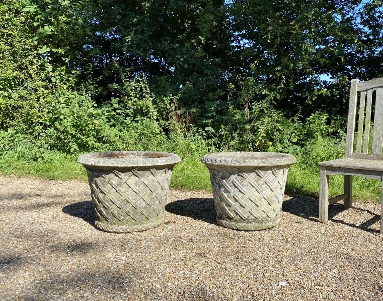 Pair of Patinated Lattice Planters