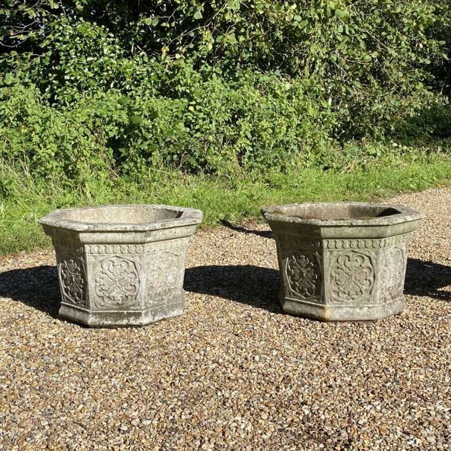 Pair of Patinated Octagonal Planters