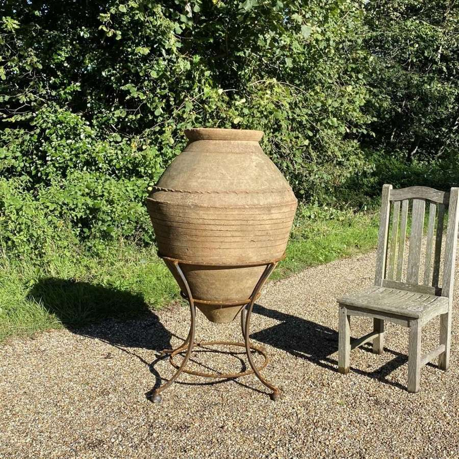 Large Terracotta Amphora on Iron Stand
